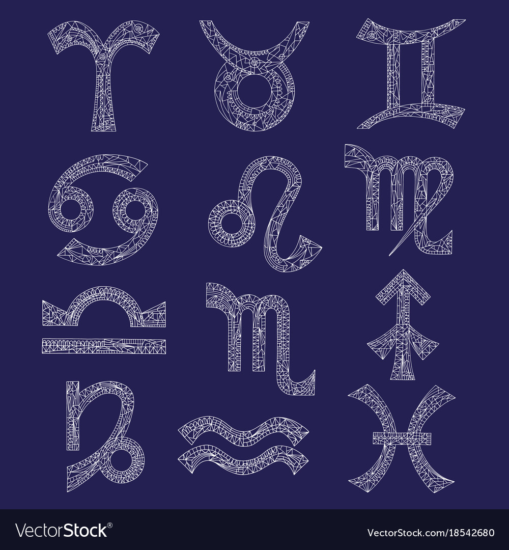 Zodiac signs set hand drawn magic symbols in