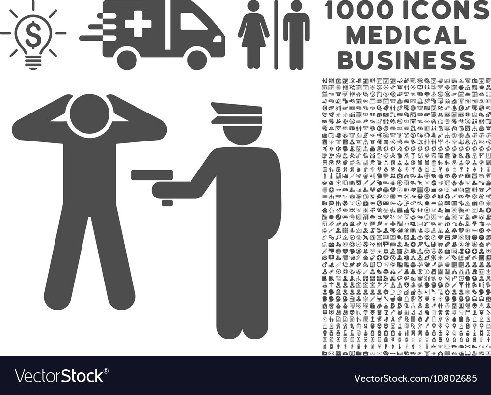 Arrest Icon with 1000 Medical Business Pictograms