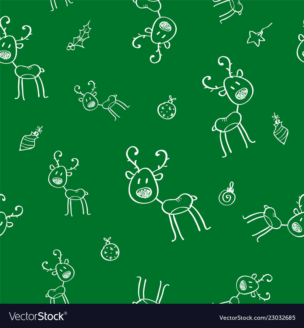 Christmas seamless pattern with deer and holly