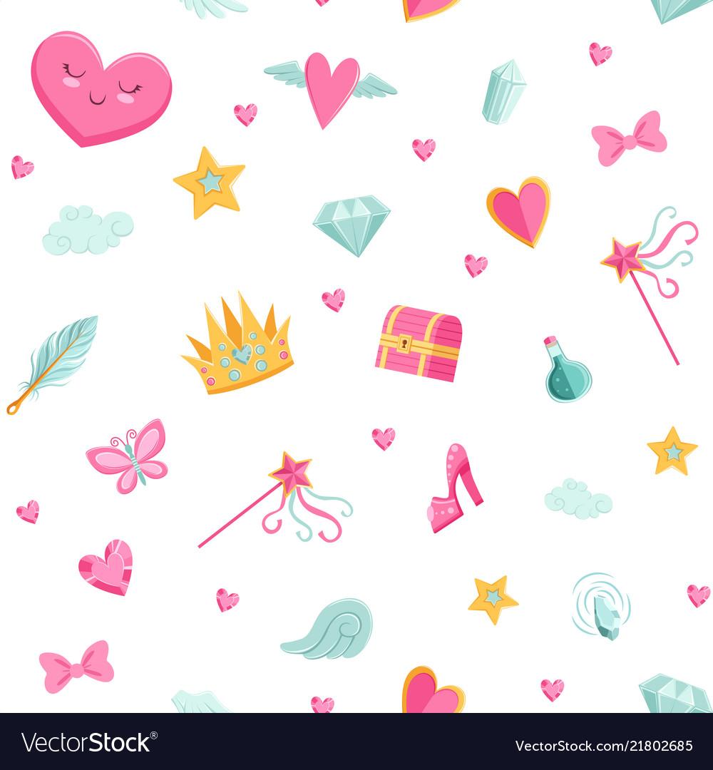 Cute cartoon magic and fairytale pattern