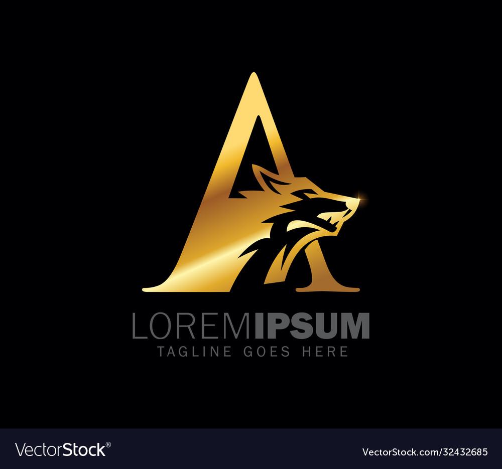Golden wolf initial monogram letter a logo sign