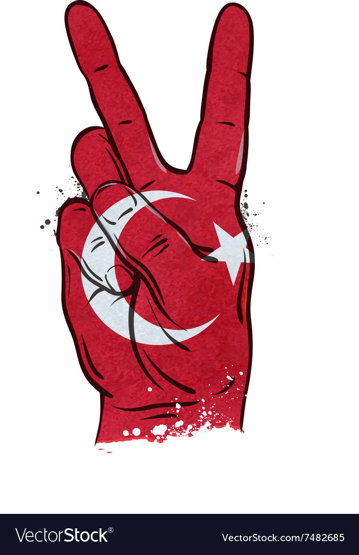 Hand gesture of victory flag Turkey
