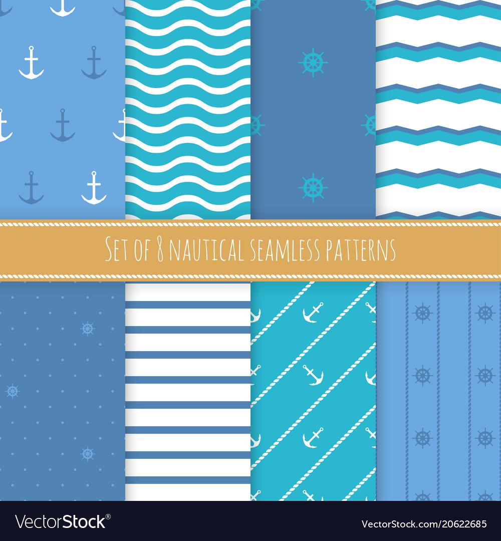 Set of 8 nautical seamless patterns
