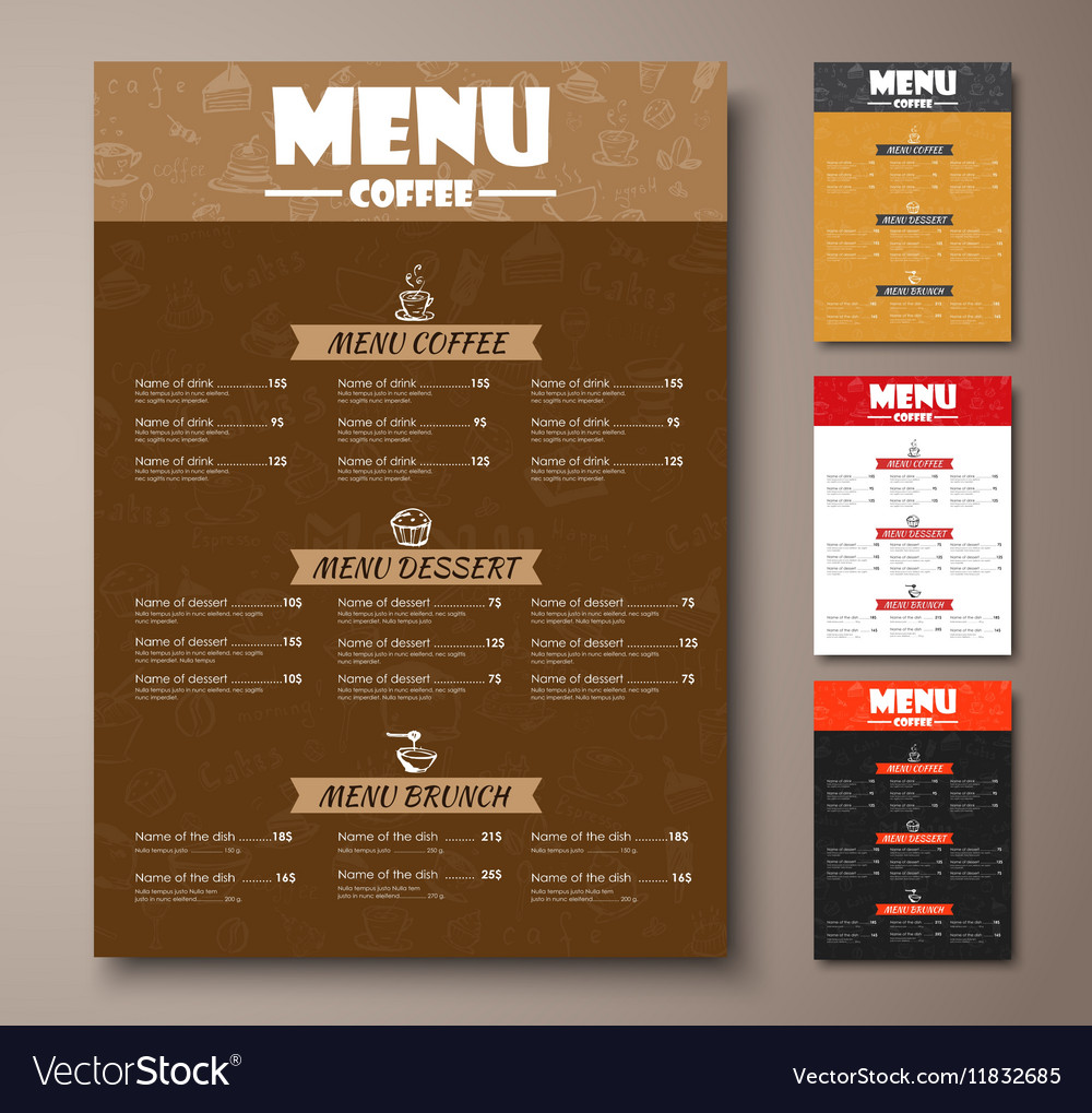 Templates of different colors coffee menu with