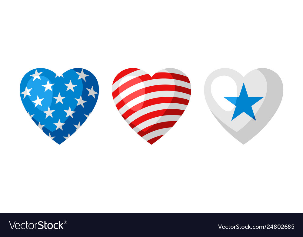 Three heart shapes in american flag colors