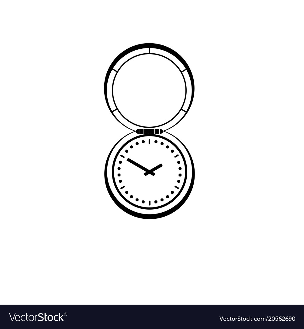 A graphic drawing of an antique pocket watch with
