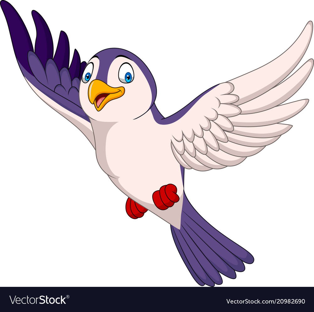 Cartoon bird flying isolated on white background