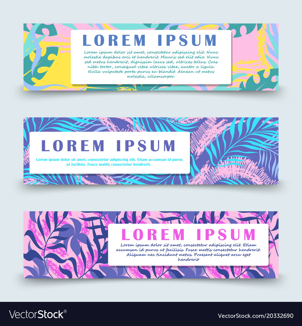 Colorful hawaii floral banners template