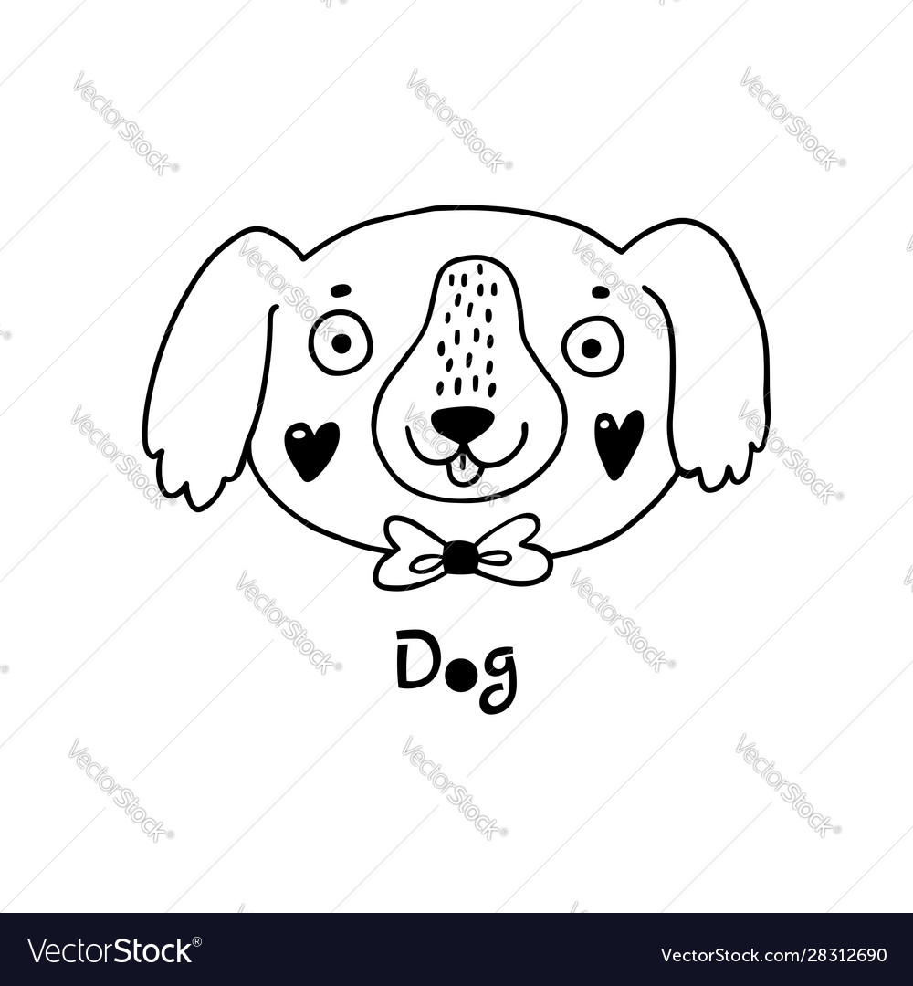 Cute simple dog face cartoon style vector