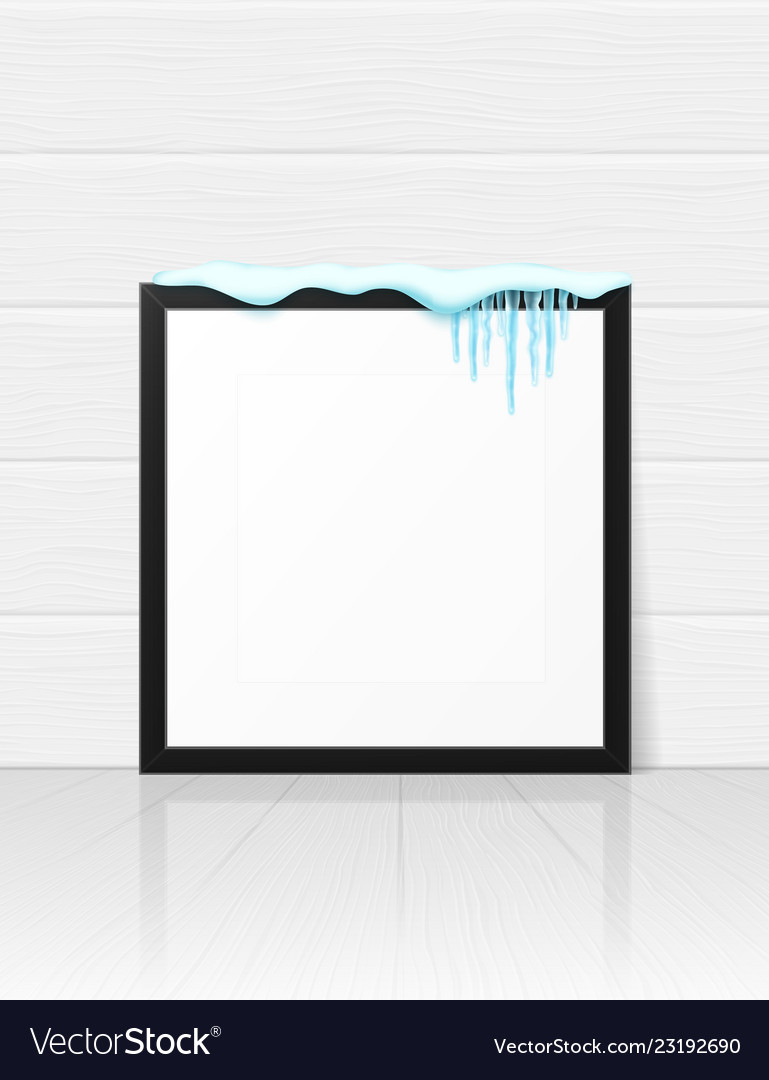 Frame with realistic snow and icicles beautiful