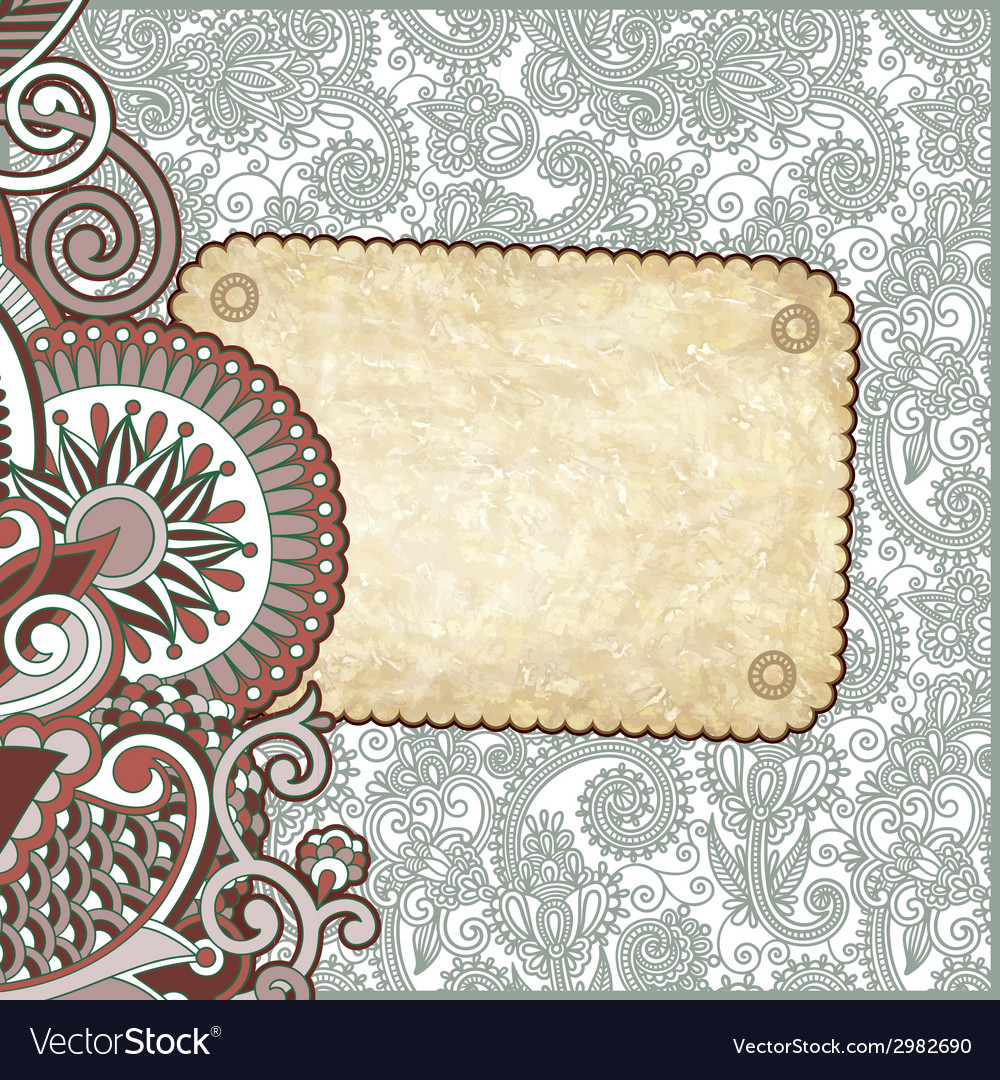 Grunge vintage template with ornamental floral