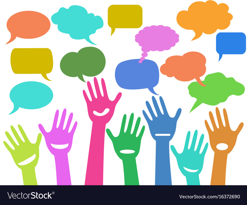 Hands with speech bubbles
