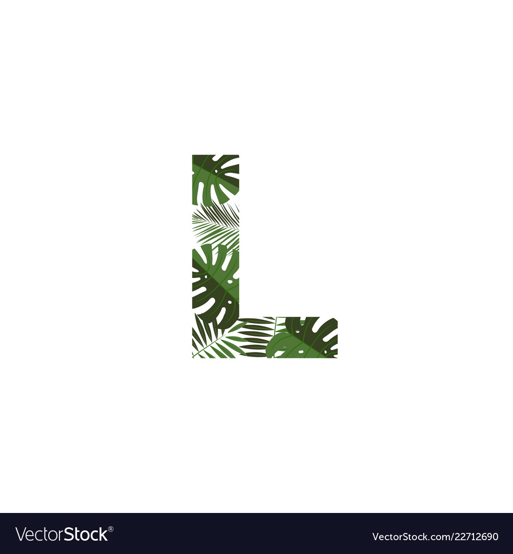 logo letter l tropical leaves vector image