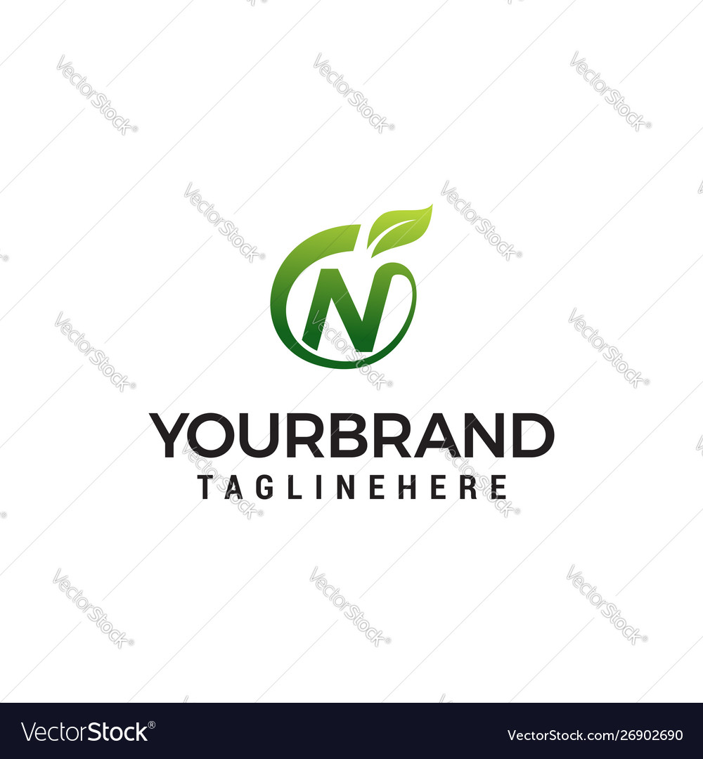 N logo initial letter design template with leaf