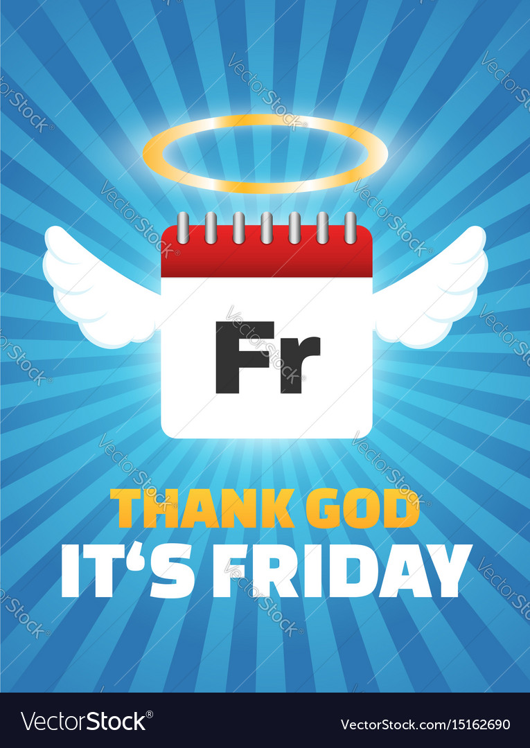 Thank God Its Friday Quote Calendar With Wings Vector Image