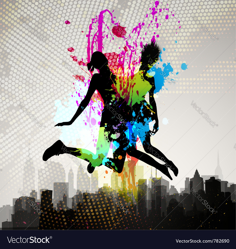Two girls jumping over city vector image