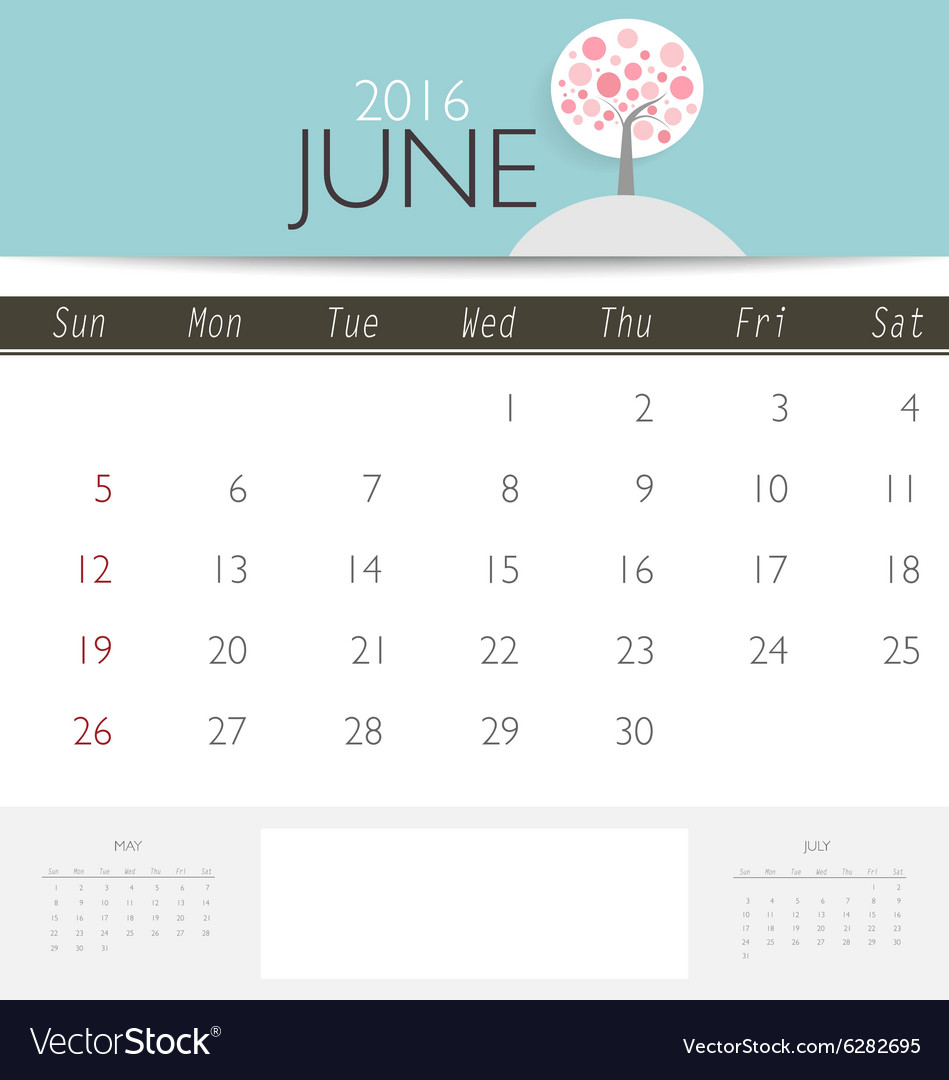 2016 calendar monthly calendar template for june vector image