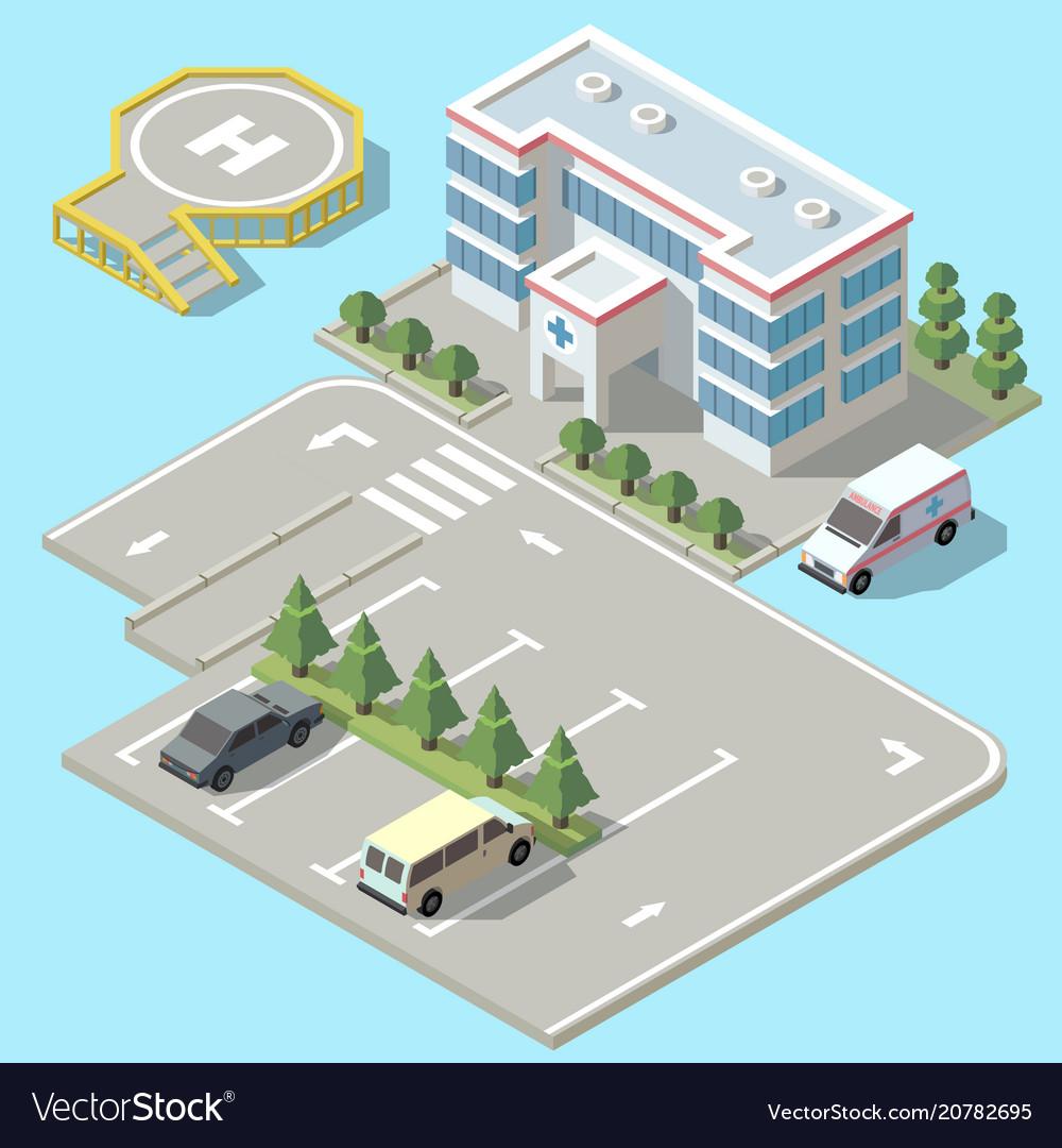 3d isometric hospital ambulance with
