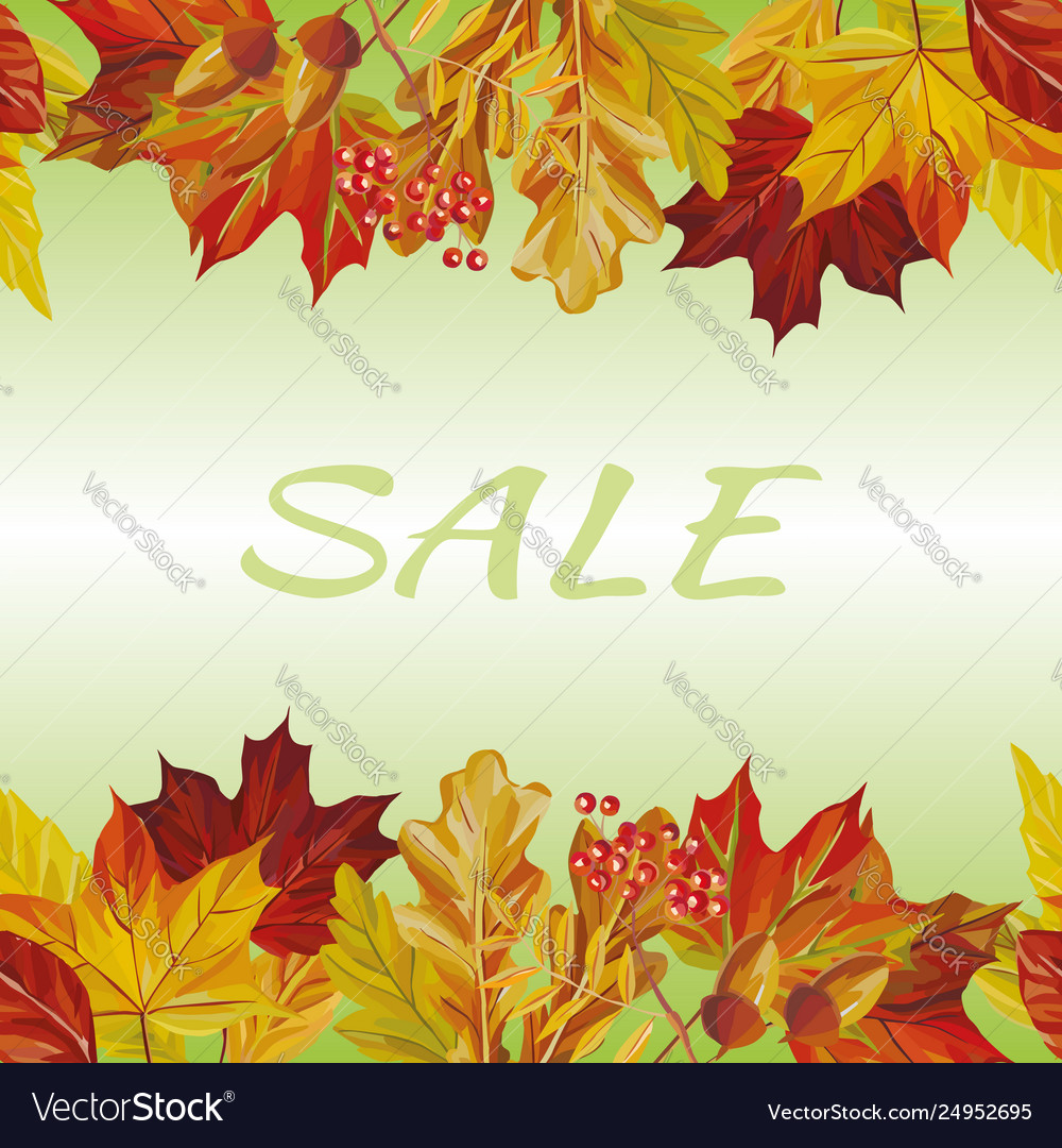 Autumn leaves border sale text background