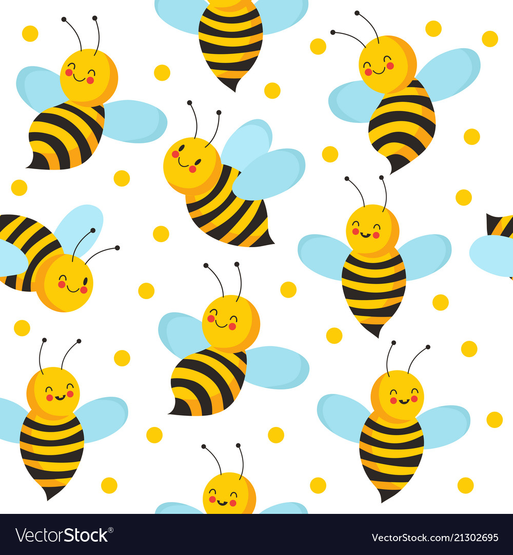 Bee seamles pattern cute flying bees for honey