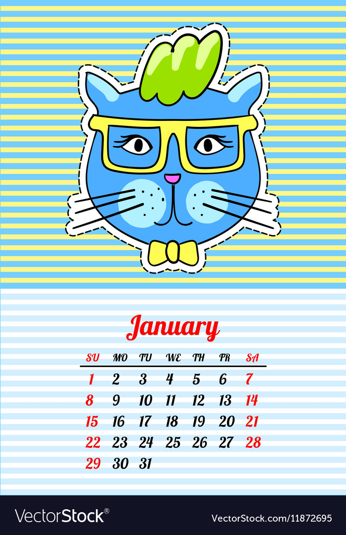 Calendar 2017 with cats January In cartoon 80s vector image