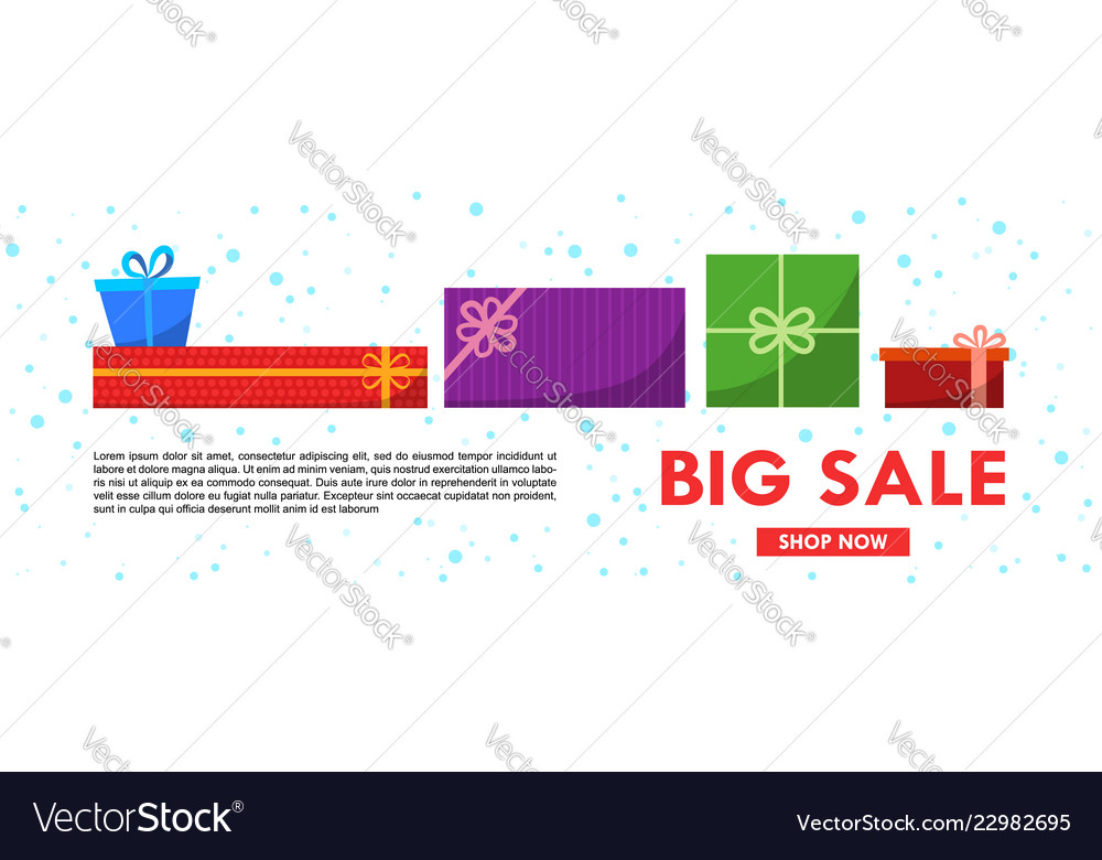 Christmas sale banner template with gift boxes