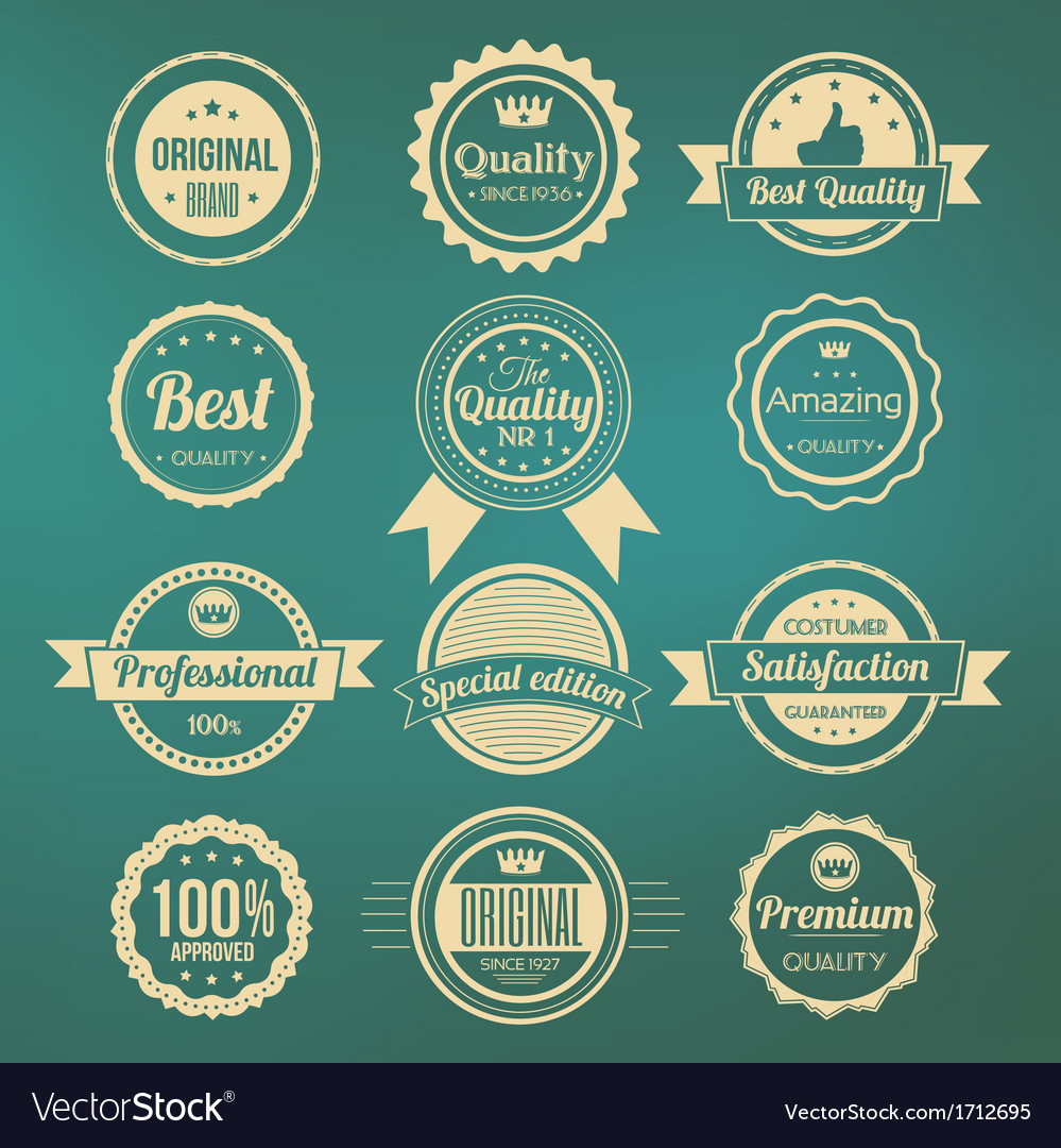Collection retro premium quality labels vector