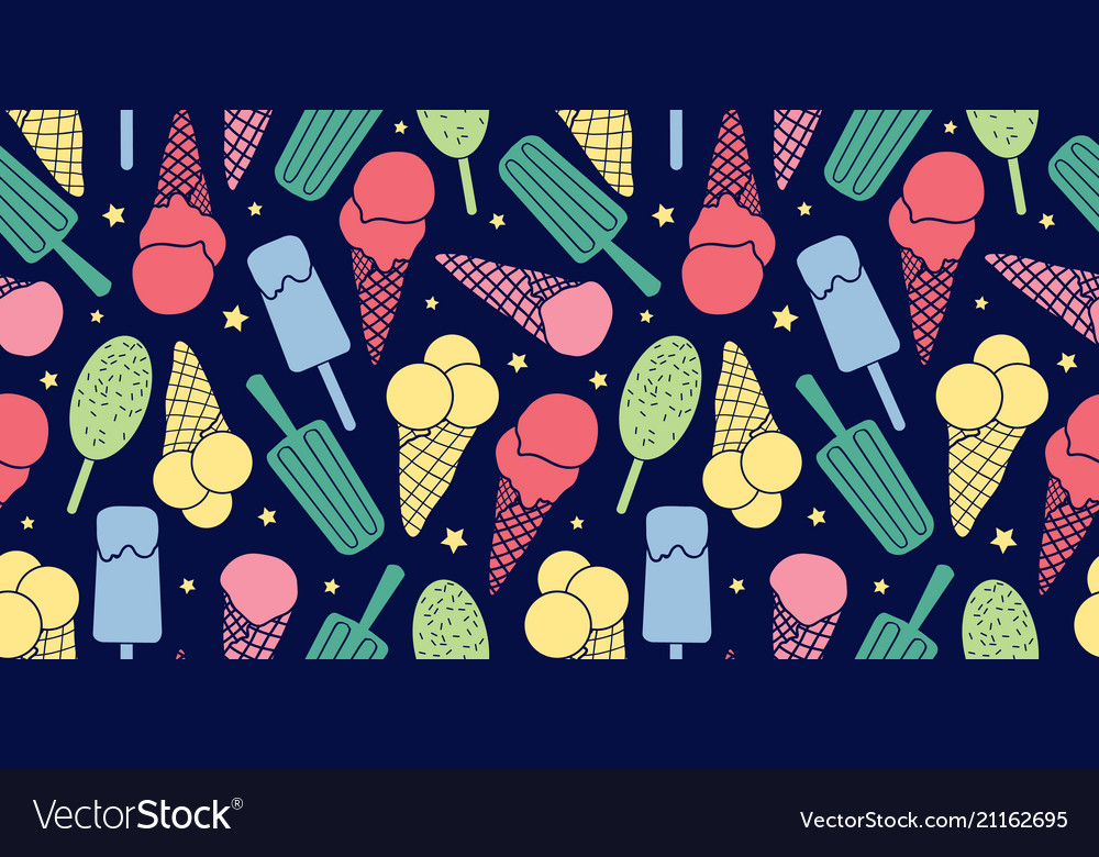 Colorful ice cream and stars seamless pattern