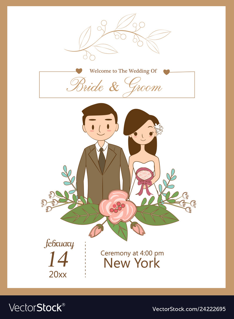 Cute Wedding Couple For Wedding Invitations Card