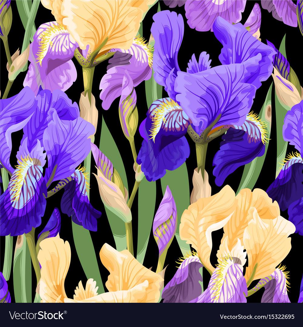 Floral pattern with iris flowers royalty free vector image floral pattern with iris flowers vector image izmirmasajfo