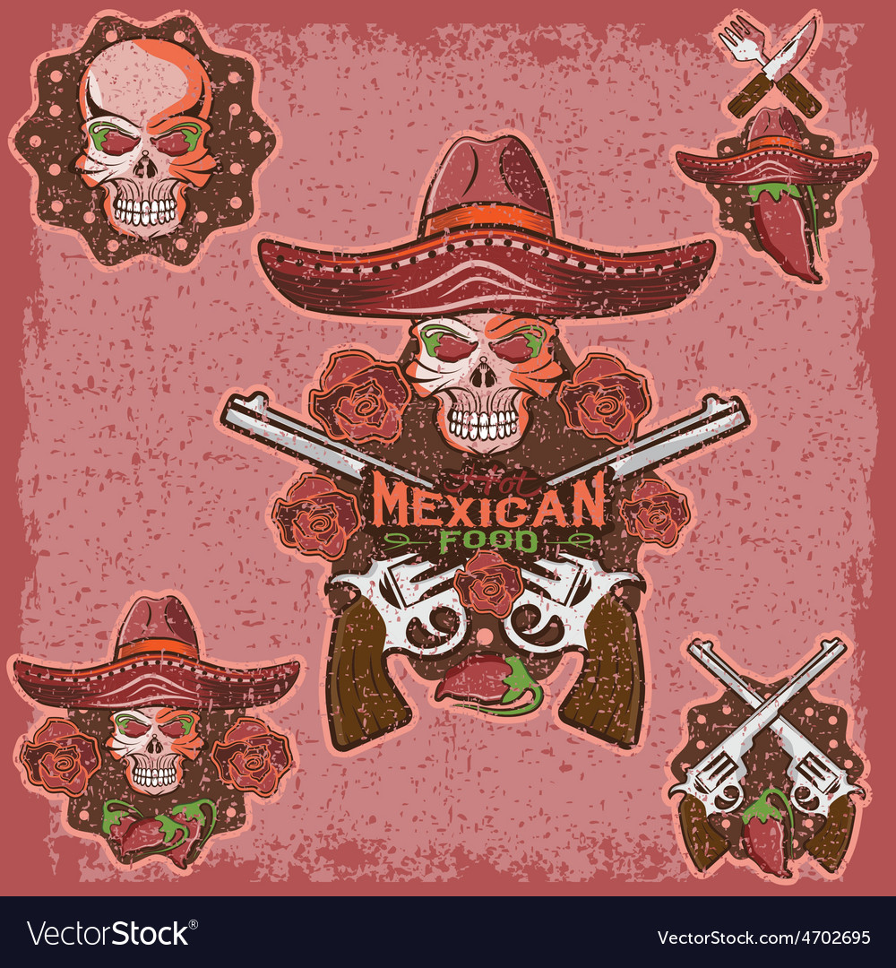 Grunge skull in a Mexican sombrero with chili