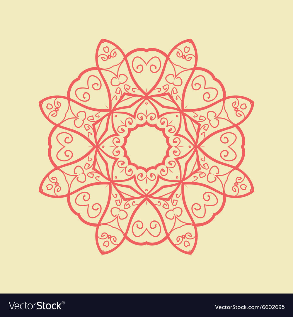 Red Mandala Pattern Print vector image