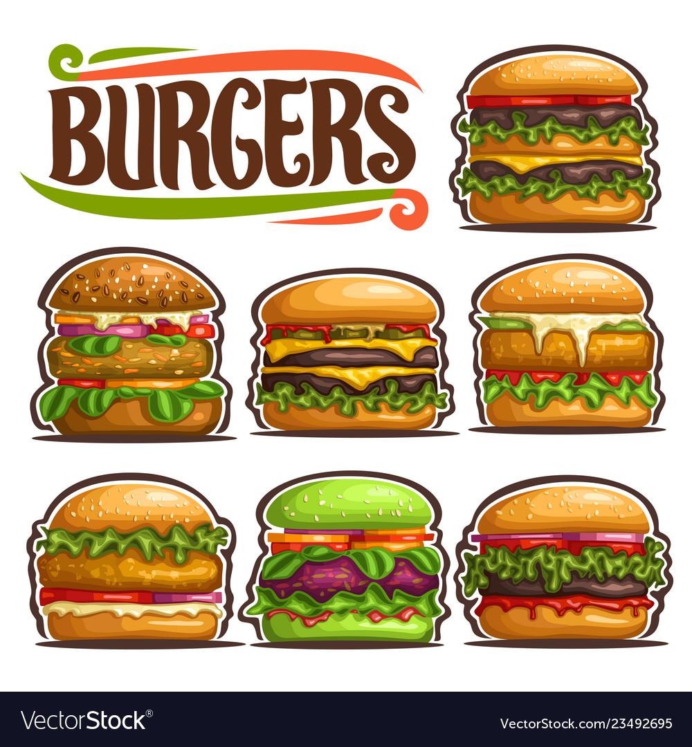 Set of fresh burgers