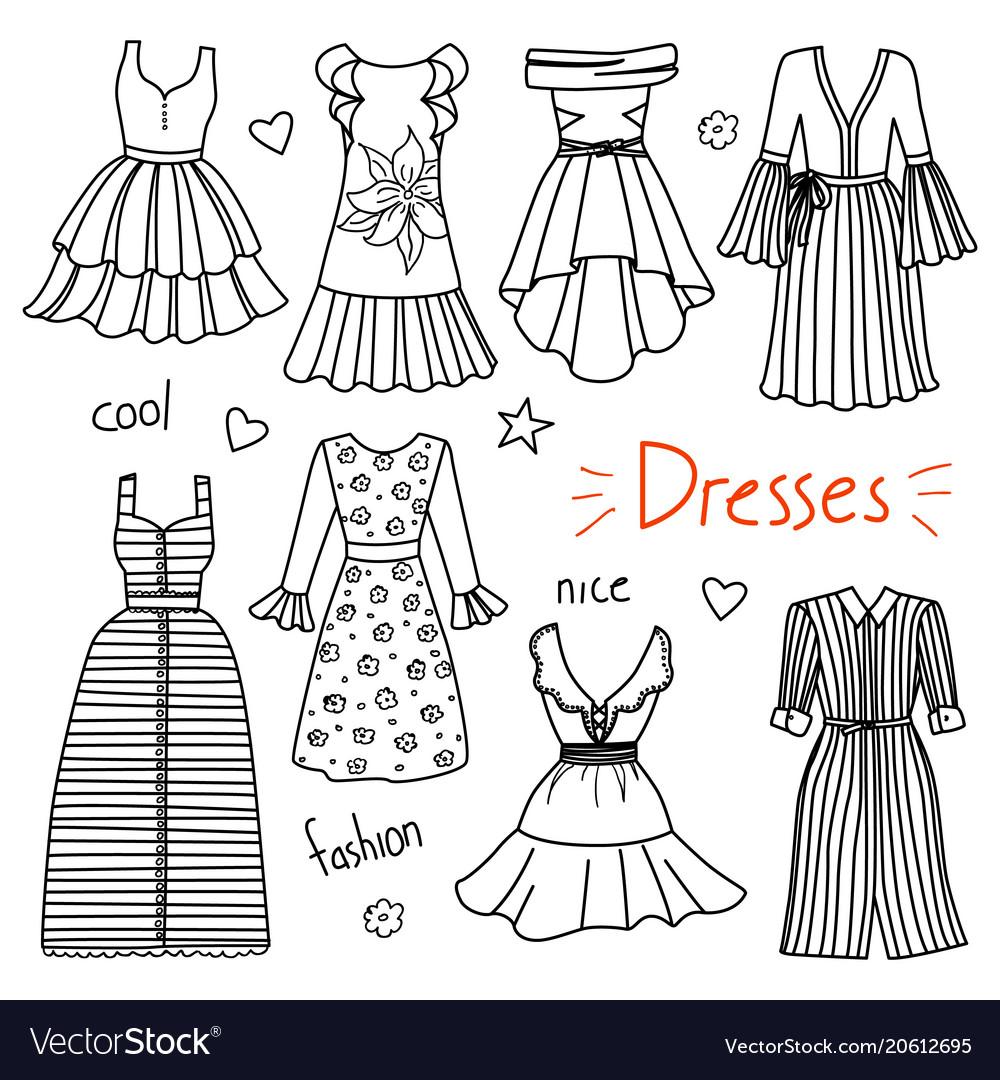 Set of hand drawn women clothes dresses