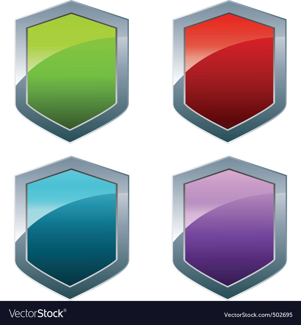 Shiny shields in different colors