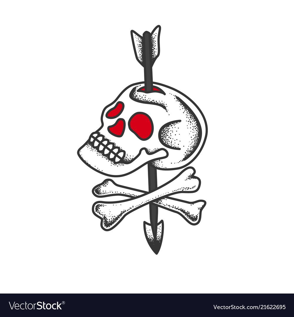 Skull and bones pierced by an arrow