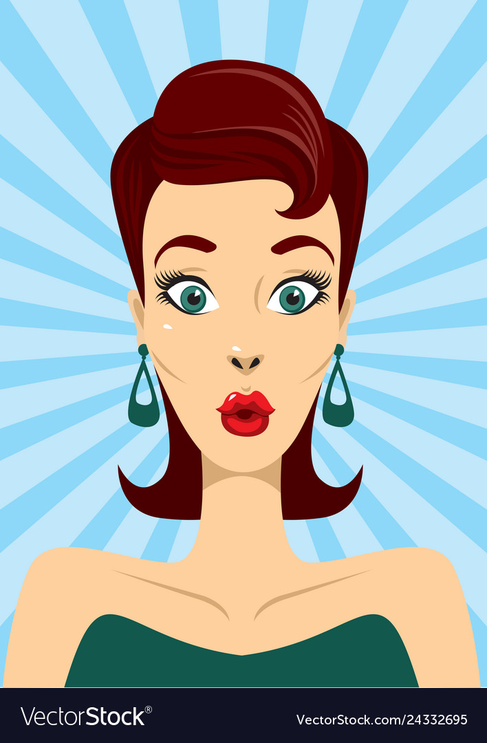 Surprised pin up woman