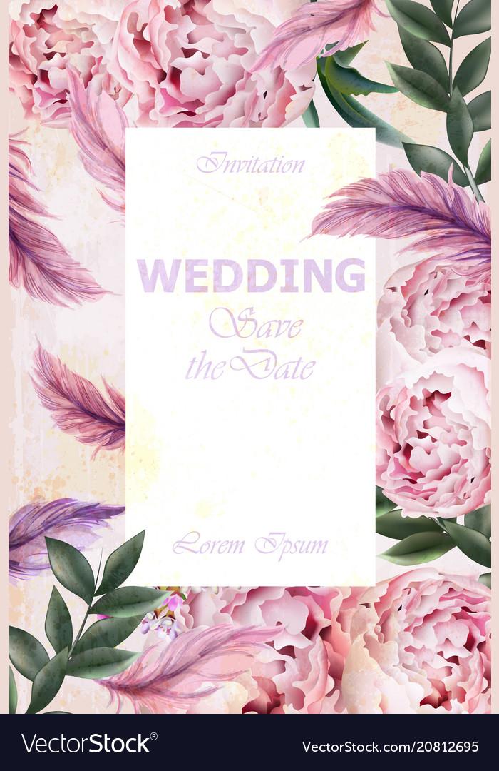Wedding invitation peonies bouquet vintage