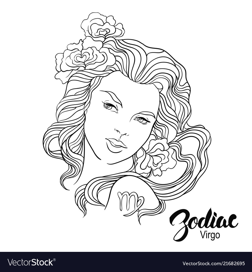 Zodiac Of Virgo As Girl With Royalty Free Vector Image