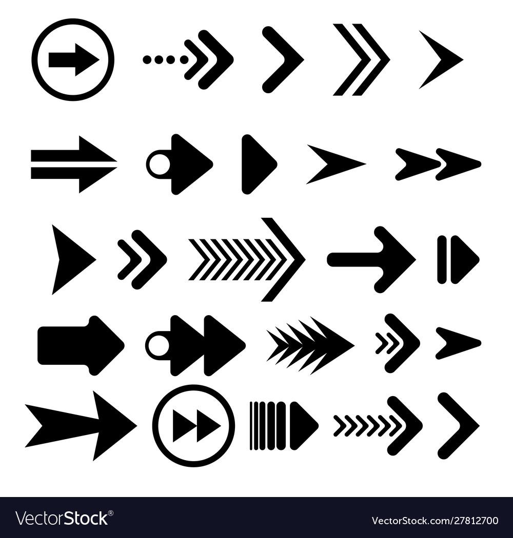 Black arrows set on white background arrow