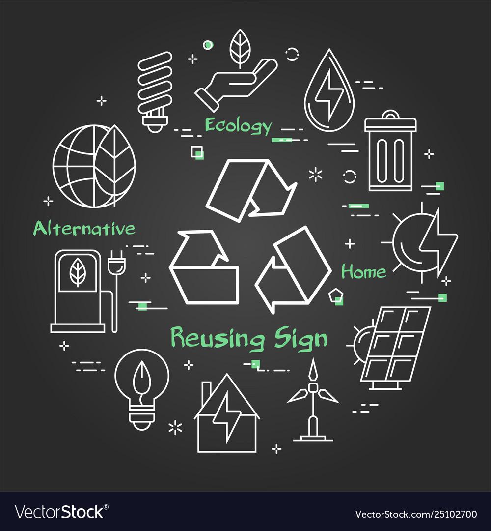 Black linear banner reusing ecology sign