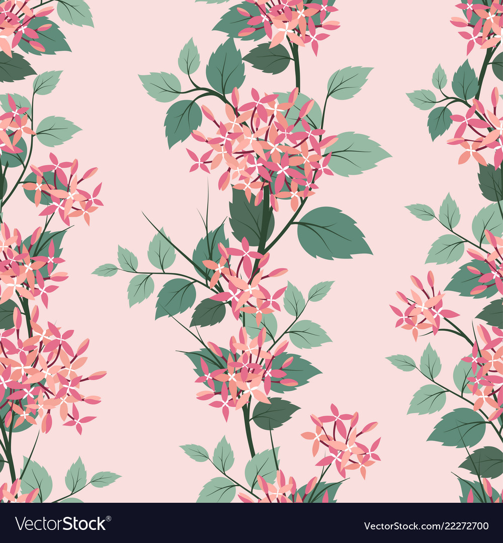 Blooming flowers seamless pattern on pastel mood