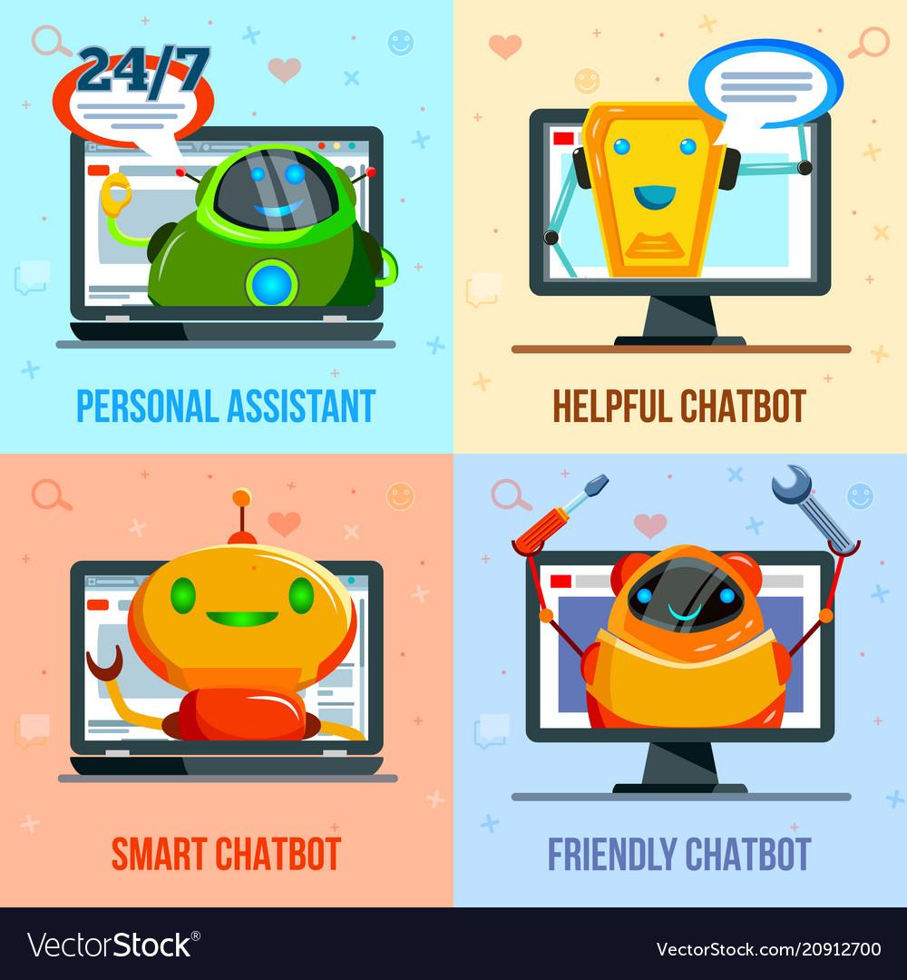 Chat bot flat design concept