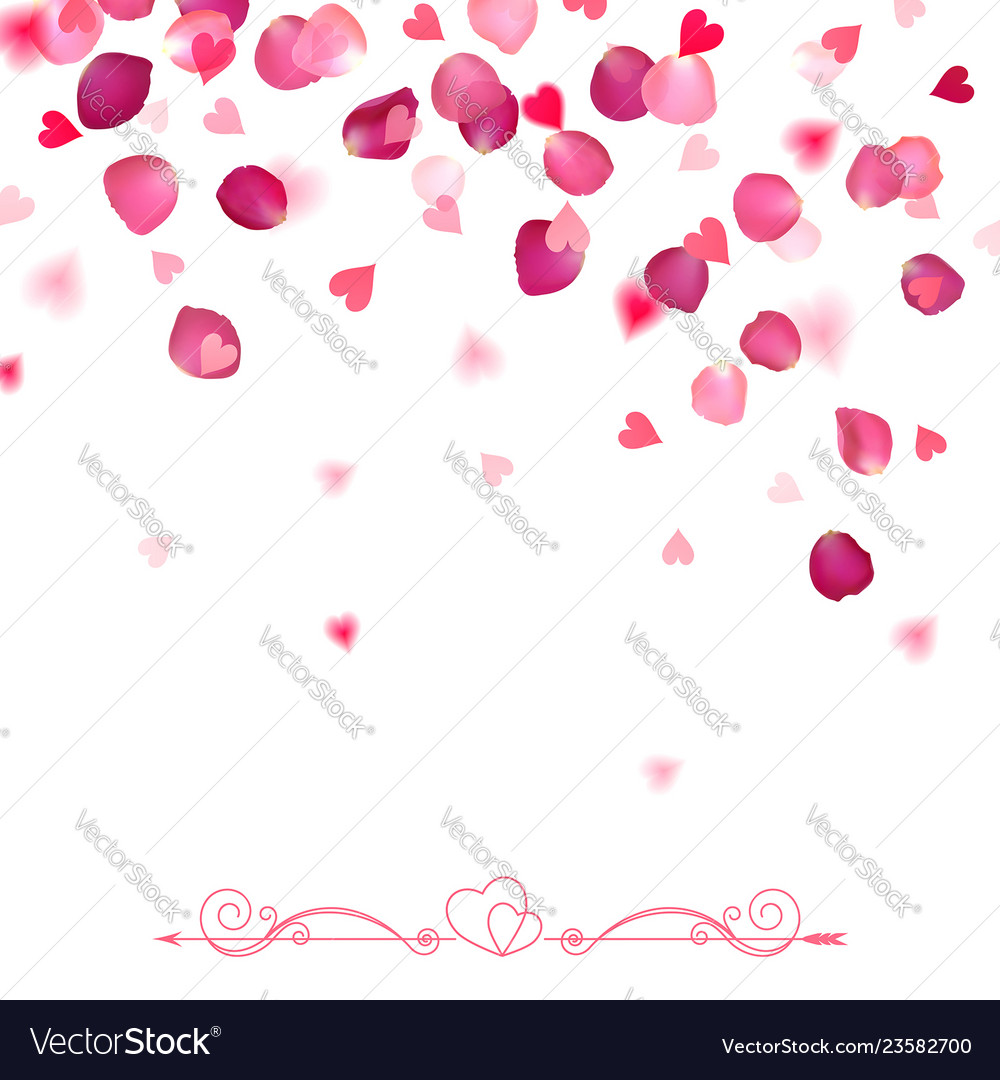 Confetti from falling rose petals and hearts
