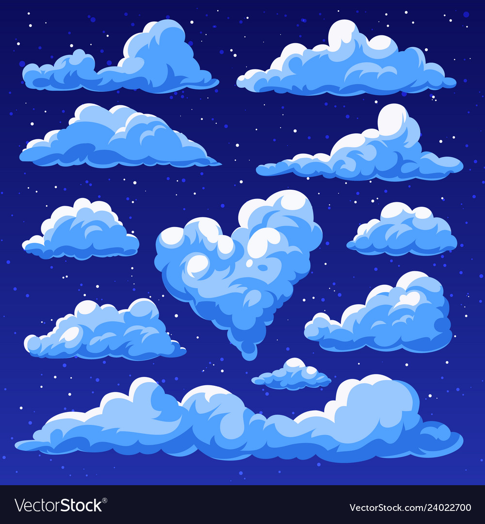 Fluffy clouds in the cartoon style