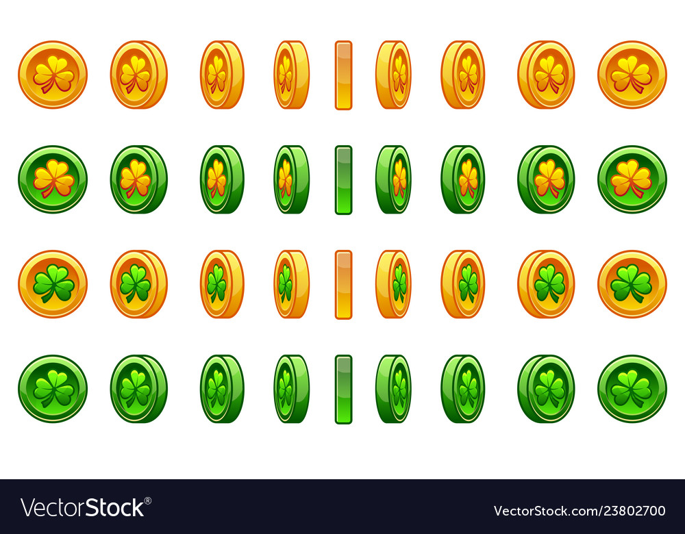 Game icons set of gold and green coin clover for