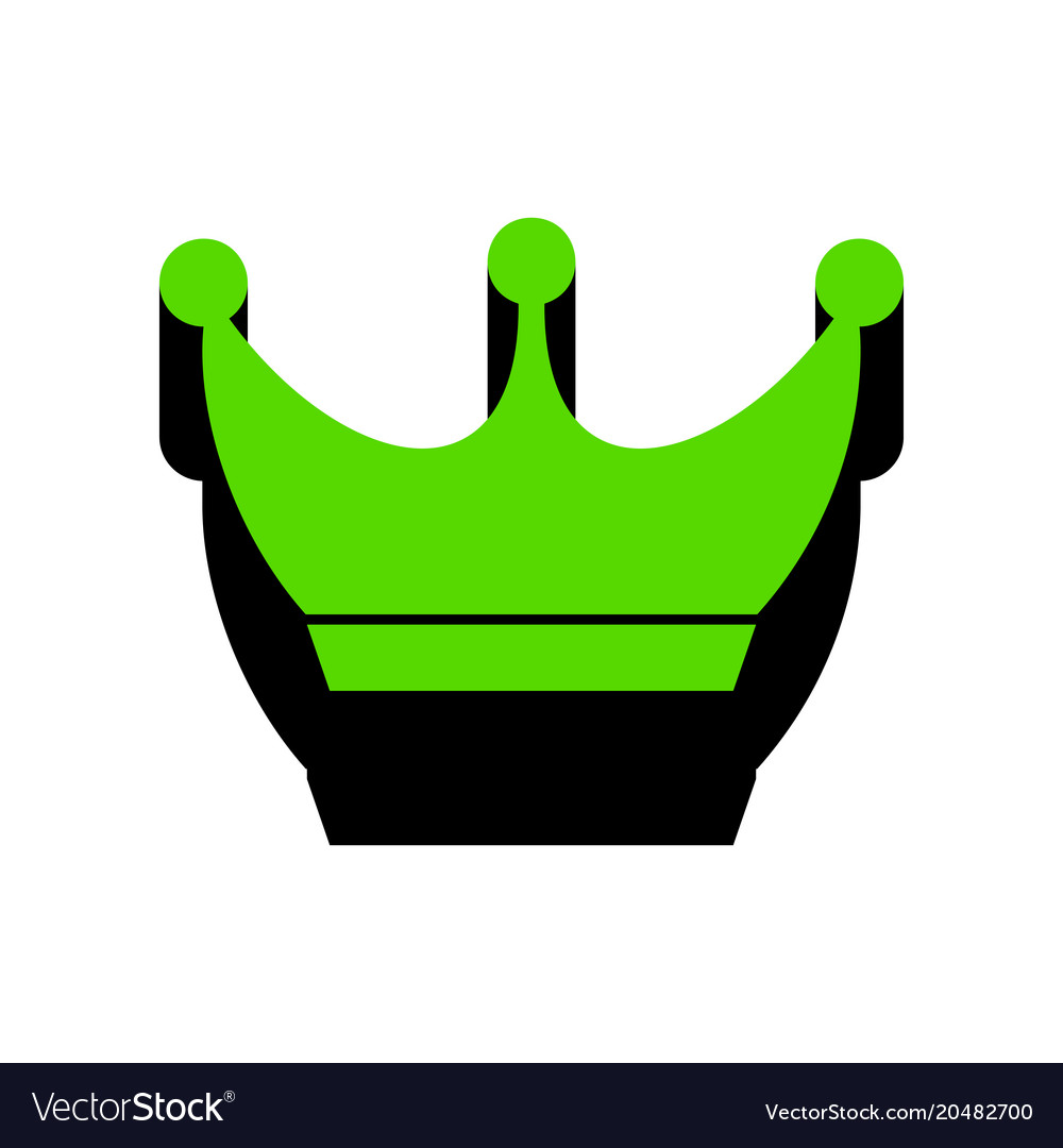 king crown sign green 3d icon with black vector image rh vectorstock com king crown vector art king crown vector eps
