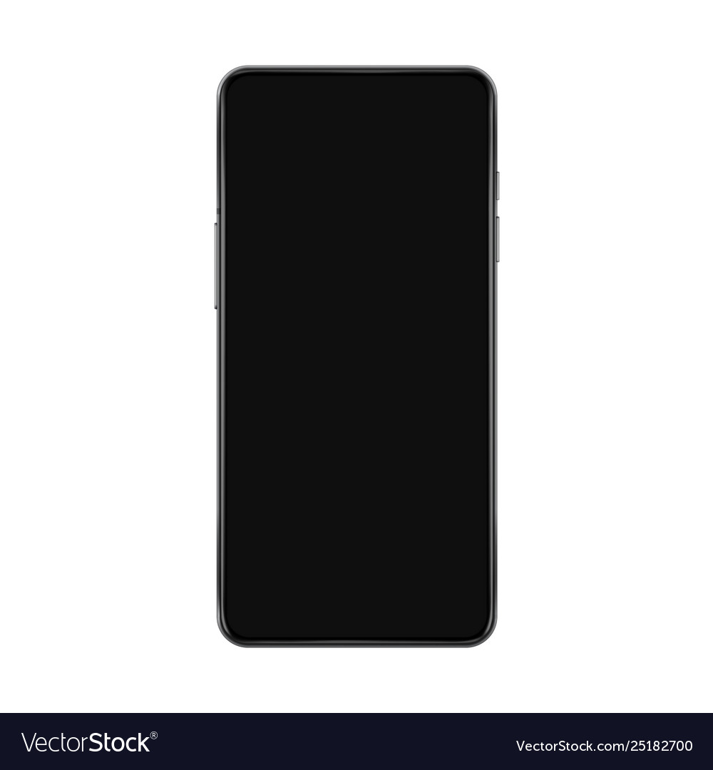 Realistic smartphone mockup with black screen