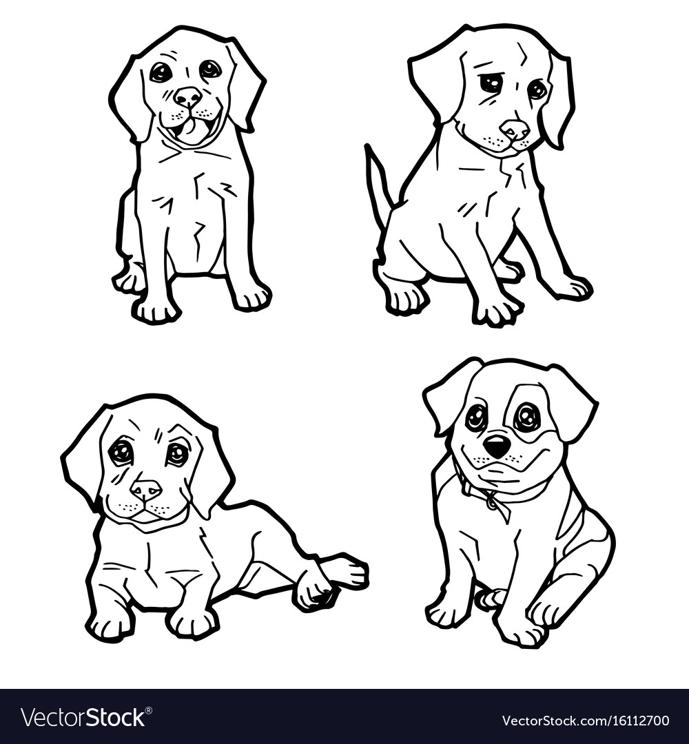 Set of cartoon cute dog coloring page Royalty Free Vector