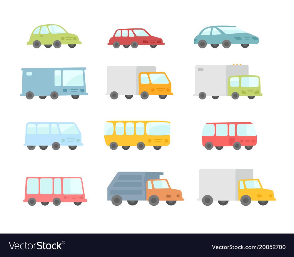 Set of different cartoon transparent cars buses